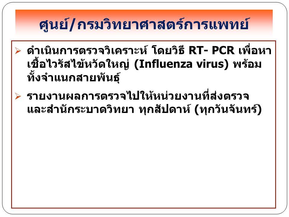 ศูนย์/กรมวิทยาศาสตร์การแพทย์  ดำเนินการตรวจวิเคราะห์ โดยวิธี RT- PCR เพื่อหา เชื้อไวรัสไข้หวัดใหญ่ (Influenza virus) พร้อม ทั้งจำแนกสายพันธุ์  รายงา