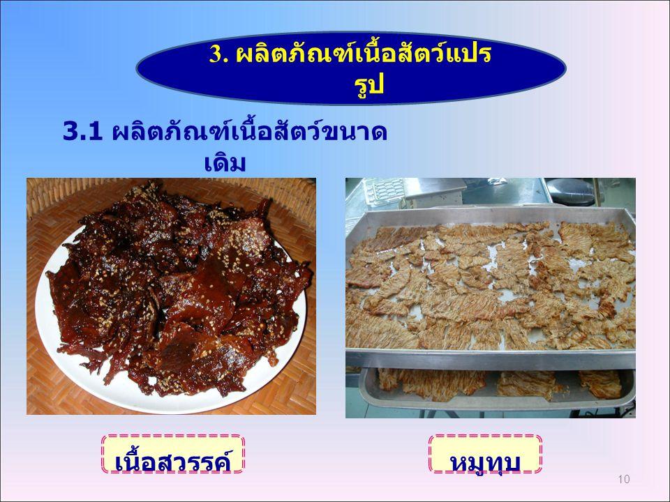 10 3. ผลิตภัณฑ์เนื้อสัตว์แปร รูป เนื้อสวรรค์หมูทุบ 3.1 ผลิตภัณฑ์เนื้อสัตว์ขนาด เดิม