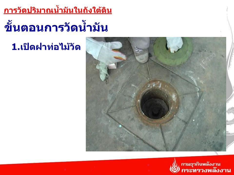 ขั้นตอนการวัดน้ำมัน การวัดปริมาณน้ำมันในถังใต้ดิน 1.เปิดฝาท่อไม้วัด