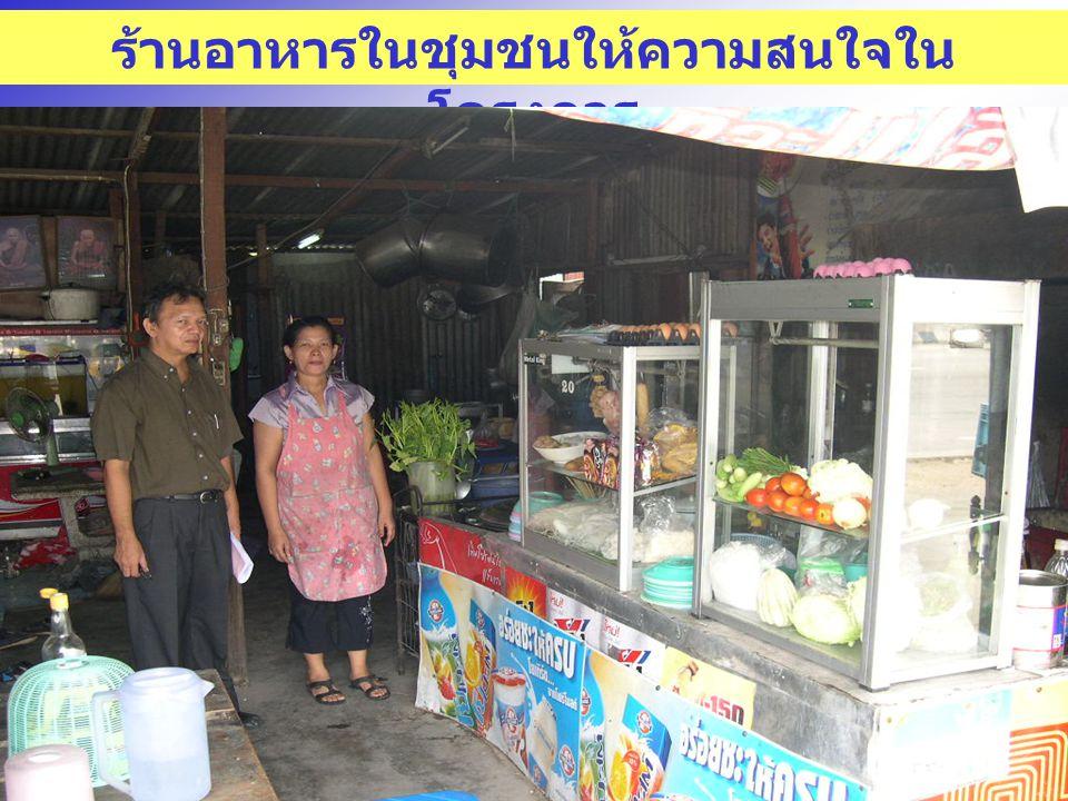 ร้านอาหารในชุมชนให้ความสนใจใน โครงการ