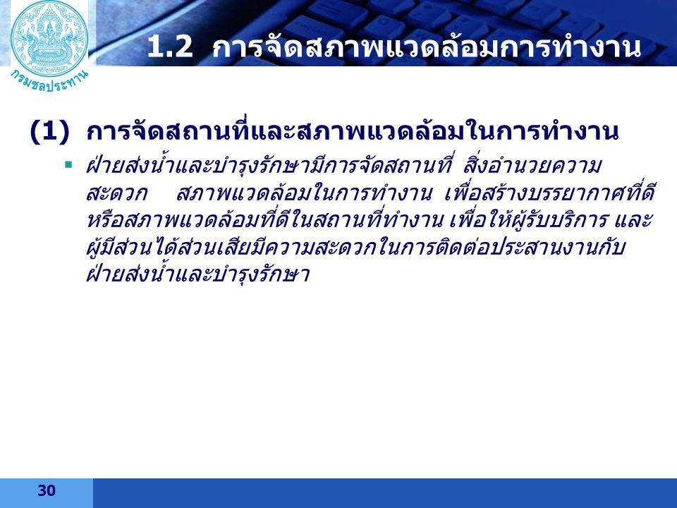 LOGO 1.2 การจัดสภาพแวดล้อมการทำงาน (1) การจัดสถานที่และสภาพแวดล้อมในการทำงาน  ฝ่ายส่งน้ำและบำรุงรักษามีการจัดสถานที่ สิ่งอำนวยความ สะดวก สภาพแวดล้อมใ