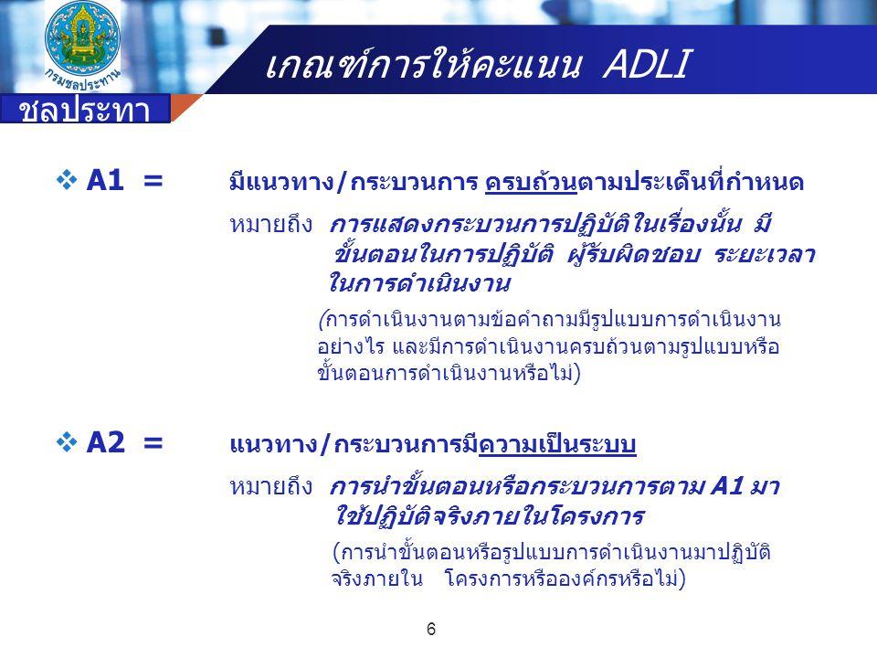 Company name Diagram for ADLI บริการที่ดี มีประสิทธิภาพ ประสิทธิผล D = การนำขั้นตอนและระบบ มาใช้ในองค์กรอย่างทั่วถึง และเป็นมาตรฐานเดียวกัน A = ขั้นตอน ระบบ ในการดำเนินงาน L1,2 = การเรียนรู้จาก การดำเนินงาน (KM &LO) L3,4 = นำความรู้ที่ได้จากกการ เรียนรู้มาพัฒนาเป็น นวัตกรรม (KMA) I3,4 = ผลลัพธ์จะได้ A ใหม่ ในการดำเนินงาน ปีต่อๆ ไป I1,2 = นำองค์ความรู้ที่ได้ จากนวัตกรรมมาปรับปรุง กระบวนการทำงานใหม่ 17 กรม ชลประทา น