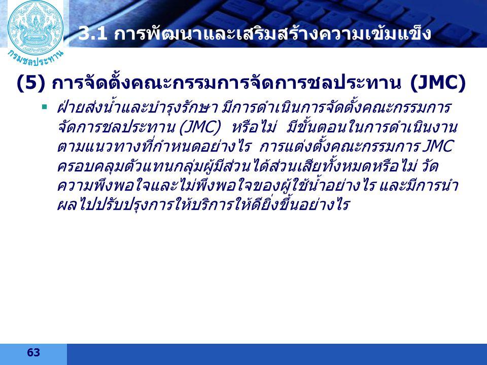 LOGO (5) การจัดตั้งคณะกรรมการจัดการชลประทาน (JMC)  ฝ่ายส่งน้ำและบำรุงรักษา มีการดำเนินการจัดตั้งคณะกรรมการ จัดการชลประทาน (JMC) หรือไม่ มีขั้นตอนในกา