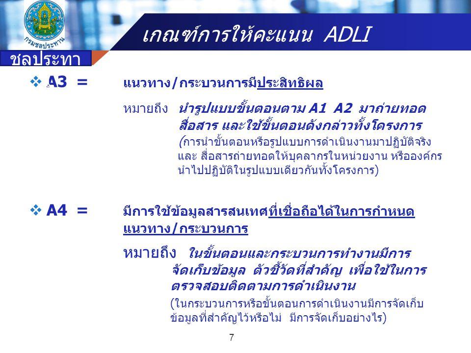 Company name  A3= แนวทาง/กระบวนการมีประสิทธิผล หมายถึง นำรูปแบบขั้นตอนตาม A1 A2 มาถ่ายทอด สื่อสาร และใช้ขั้นตอนดังกล่าวทั้งโครงการ ( การนำขั้นตอนหรือ