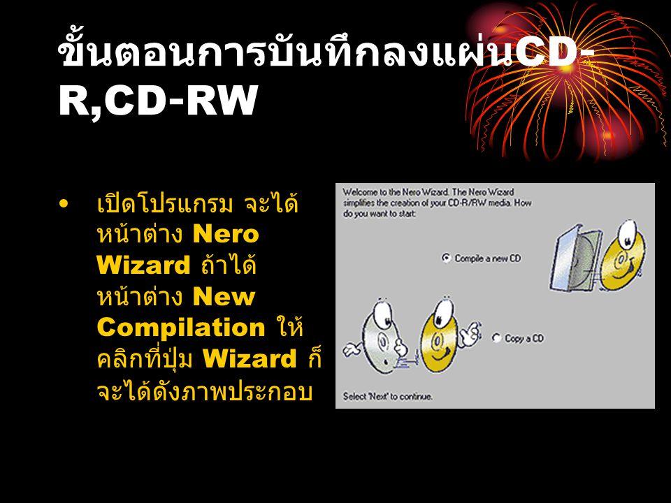 ขั้นตอนการบันทึกลงแผ่น CD- R,CD-RW เปิดโปรแกรม จะได้ หน้าต่าง Nero Wizard ถ้าได้ หน้าต่าง New Compilation ให้ คลิกที่ปุ่ม Wizard ก็ จะได้ดังภาพประกอบ