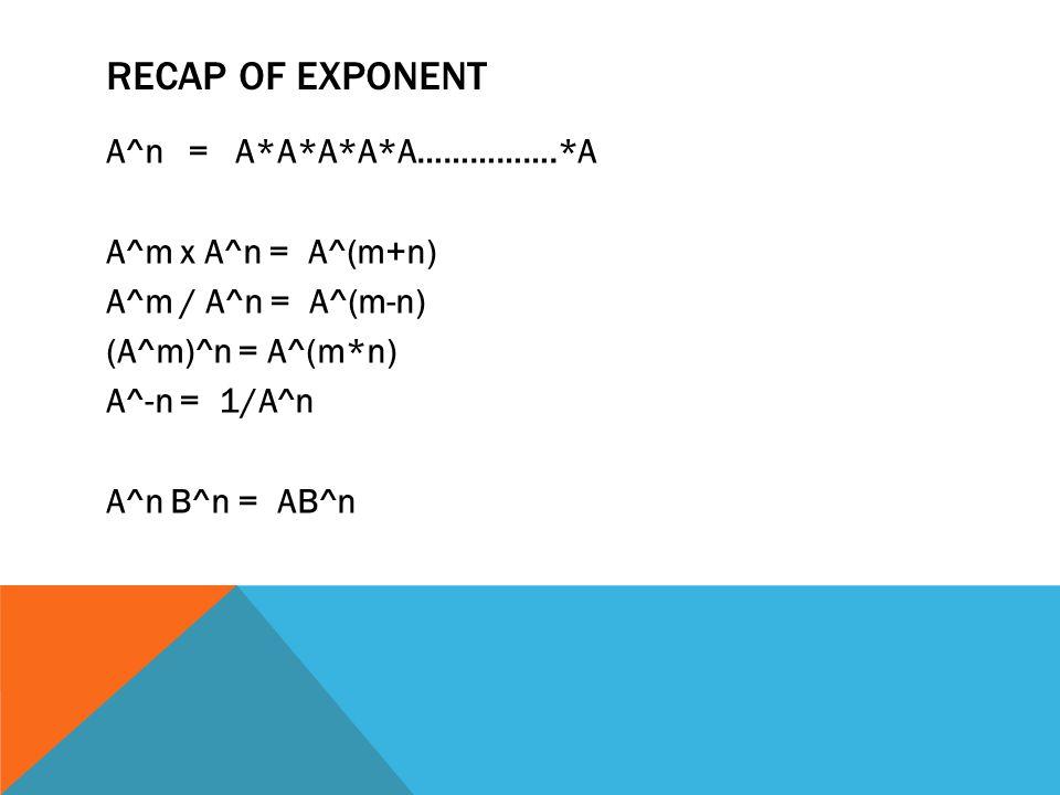 RECAP OF EXPONENT A^n = A*A*A*A*A…………….*A A^m x A^n = A^(m+n) A^m / A^n = A^(m-n) (A^m)^n = A^(m*n) A^-n = 1/A^n A^n B^n = AB^n