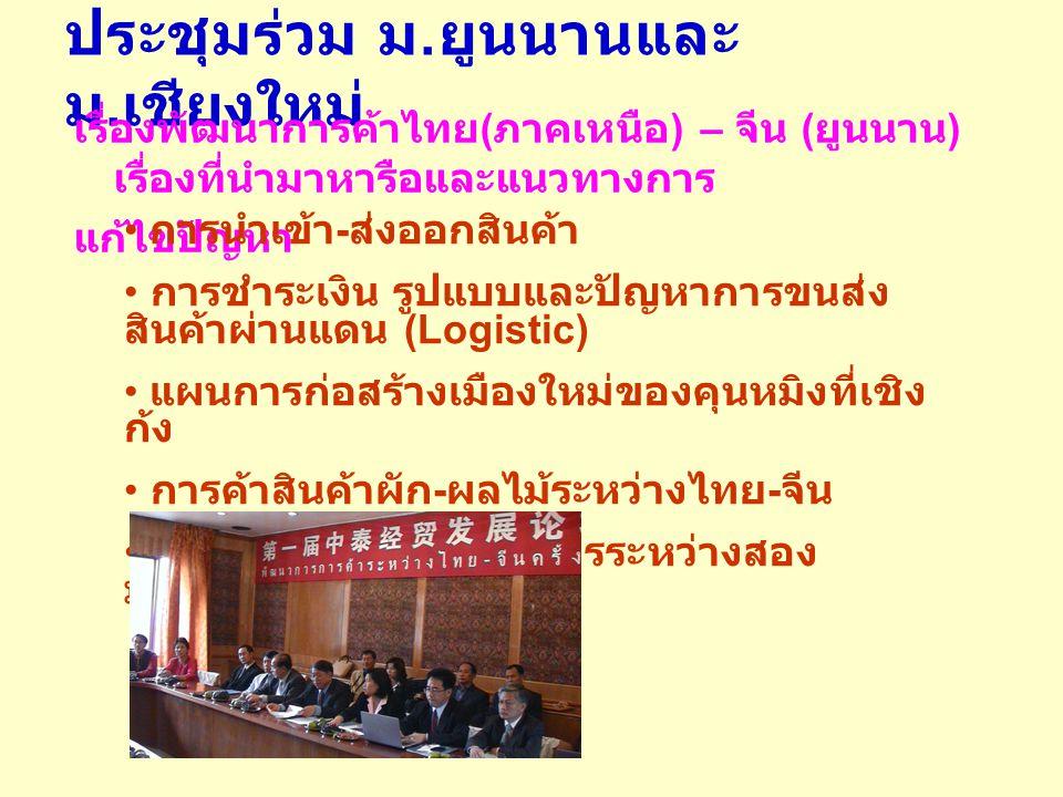 ประชุมร่วม ม. ยูนนานและ ม. เชียงใหม่ เรื่องพัฒนาการค้าไทย ( ภาคเหนือ ) – จีน ( ยูนนาน ) เรื่องที่นำมาหารือและแนวทางการ แก้ไขปัญหา การนำเข้า - ส่งออกสิ
