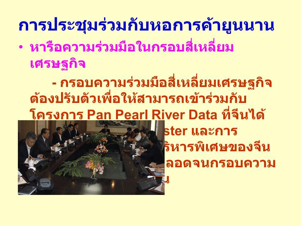 การประชุมร่วมกับหอการค้ายูนนาน หารือความร่วมมือในกรอบสี่เหลี่ยม เศรษฐกิจ - กรอบความร่วมมือสี่เหลี่ยมเศรษฐกิจ ต้องปรับตัวเพื่อให้สามารถเข้าร่วมกับ โครงการ Pan Pearl River Data ที่จีนได้ รวม 9 มณฑล เป็น Cluster และการ เชื่อมต่อกับอีก 2 เขตบริหารพิเศษของจีน คือ ฮ่องกงและมาเก๊า ตลอดจนกรอบความ ร่วมมือของอาเซียน + จีน