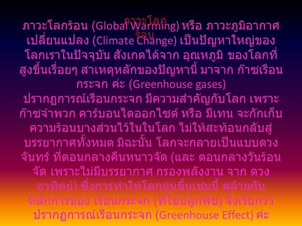 ภาวะโลกร้อน (Global Warming) หรือ ภาวะภูมิอากาศ เปลี่ยนแปลง (Climate Change) เป็นปัญหาใหญ่ของ โลกเราในปัจจุบัน สังเกตได้จาก อุณหภูมิ ของโลกที่ สูงขึ้น