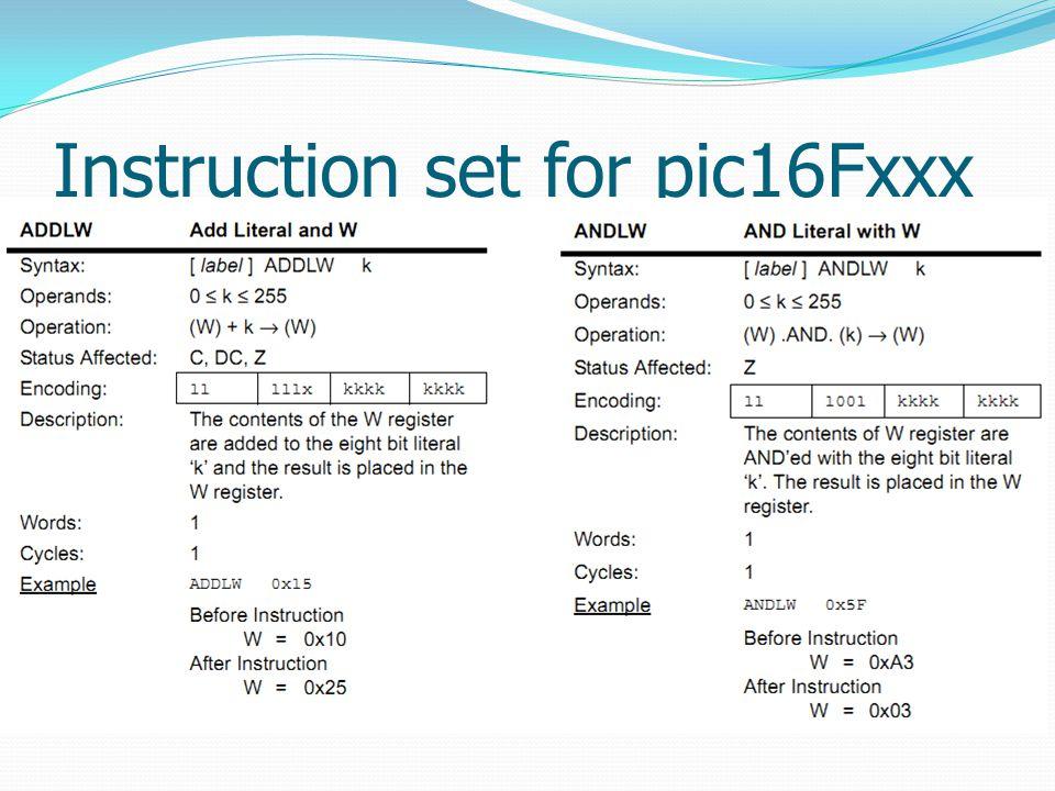 Instruction set for pic16Fxxx