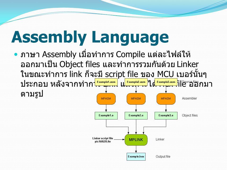 Assembly Language ภาษา Assembly เมื่อทำการ Compile แต่ละไฟล์ให้ ออกมาเป็น Object files และทำการรวมกันด้วย Linker ในขณะทำการ link ก็จะมี script file ขอ