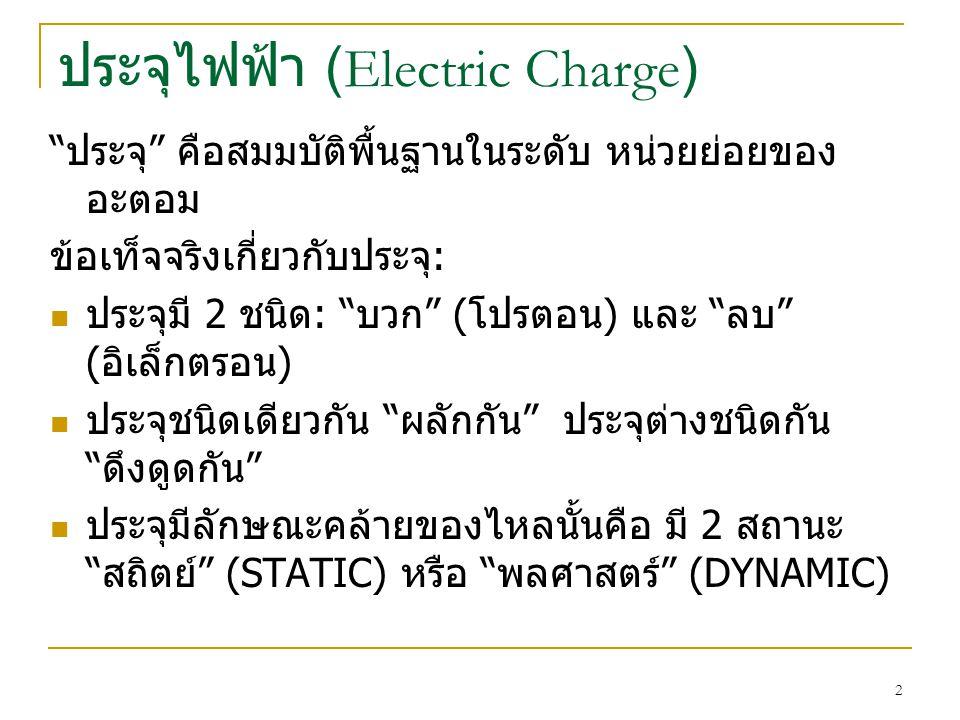 ประจุไฟฟ้า (Electric Charge) ประจุ คือสมมบัติพื้นฐานในระดับ หน่วยย่อยของ อะตอม ข้อเท็จจริงเกี่ยวกับประจุ : ประจุมี 2 ชนิด : บวก ( โปรตอน ) และ ลบ ( อิเล็กตรอน ) ประจุชนิดเดียวกัน ผลักกัน ประจุต่างชนิดกัน ดึงดูดกัน ประจุมีลักษณะคล้ายของไหลนั้นคือ มี 2 สถานะ สถิตย์ (STATIC) หรือ พลศาสตร์ (DYNAMIC) 2