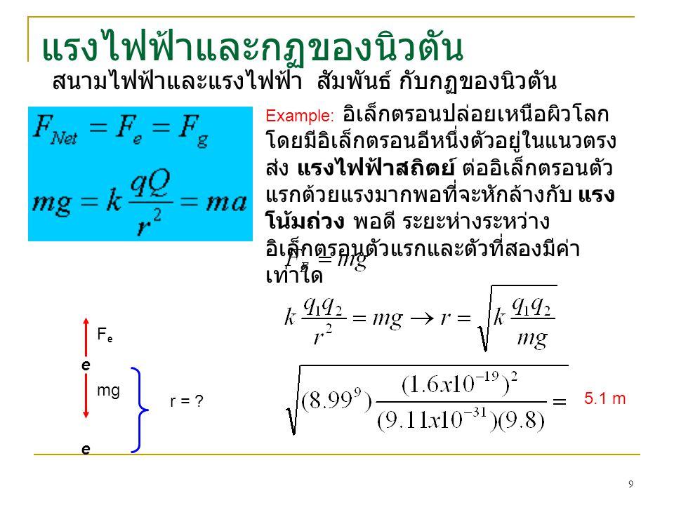 แรงไฟฟ้าและกฏของนิวตัน สนามไฟฟ้าและแรงไฟฟ้า สัมพันธ์ กับกฏของนิวตัน Example: อิเล็กตรอนปล่อยเหนือผิวโลก โดยมีอิเล็กตรอนอีหนึ่งตัวอยู่ในแนวตรง ส่ง แรงไฟฟ้าสถิตย์ ต่ออิเล็กตรอนตัว แรกต้วยแรงมากพอที่จะหักล้างกับ แรง โน้มถ่วง พอดี ระยะห่างระหว่าง อิเล็กตรอนตัวแรกและตัวที่สองมีค่า เท่าใด e e mg FeFe r = .