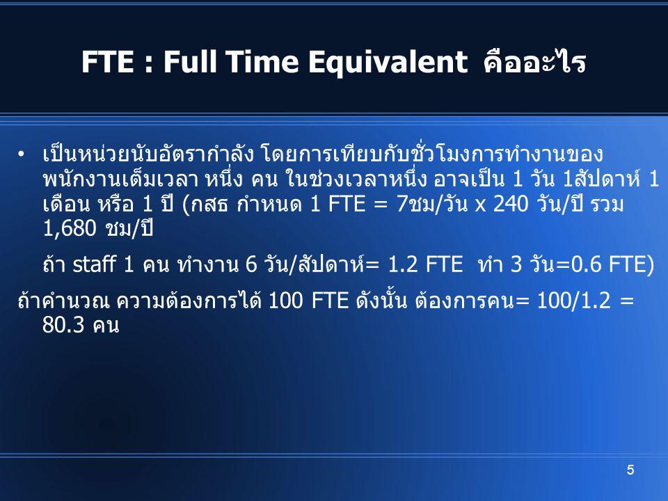 FTE : Full Time Equivalent คืออะไร เป็นหน่วยนับอัตรากำลัง โดยการเทียบกับชั่วโมงการทำงานของ พนักงานเต็มเวลา หนึ่ง คน ในช่วงเวลาหนึ่ง อาจเป็น 1 วัน 1สัป