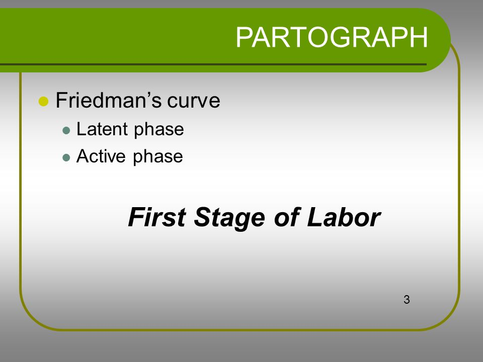PARTOGRAPH Friedman's curve Latent phase Active phase First Stage of Labor 3
