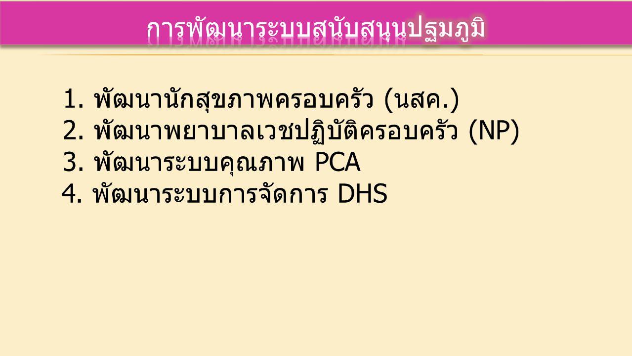1.พัฒนานักสุขภาพครอบครัว (นสค.) 2. พัฒนาพยาบาลเวชปฏิบัติครอบครัว (NP) 3.