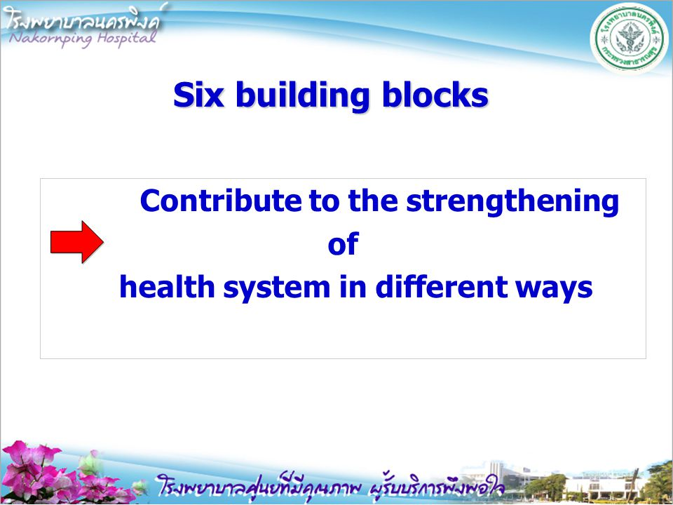 Six building blocks Contribute to the strengthening of health system in different ways