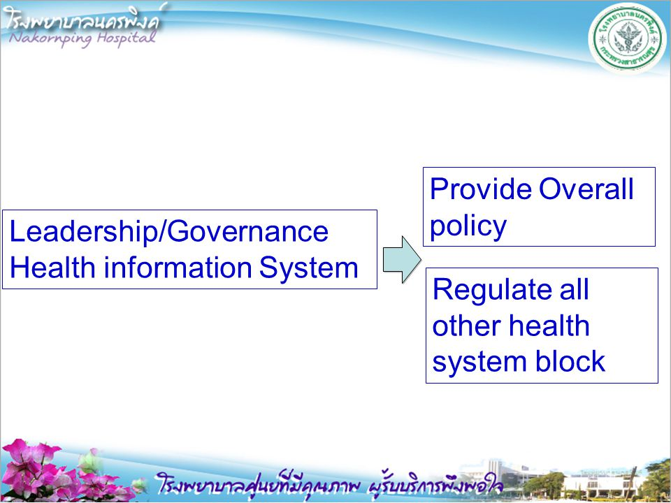 Leadership/Governance Health information System Provide Overall policy Regulate all other health system block