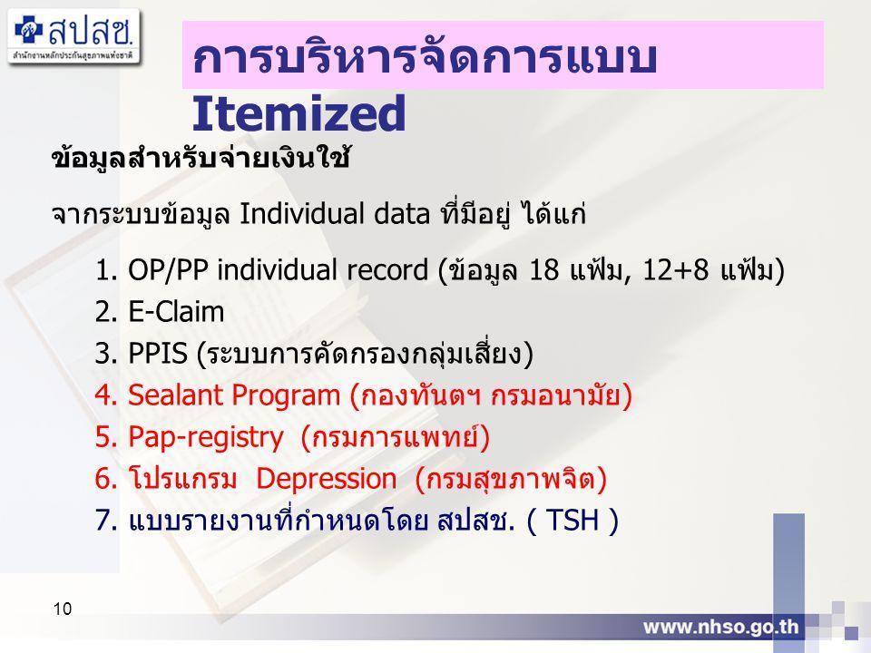 10 ข้อมูลสำหรับจ่ายเงินใช้ จากระบบข้อมูล Individual data ที่มีอยู่ ได้แก่ 1. OP/PP individual record (ข้อมูล 18 แฟ้ม, 12+8 แฟ้ม) 2. E-Claim 3. PPIS (ร