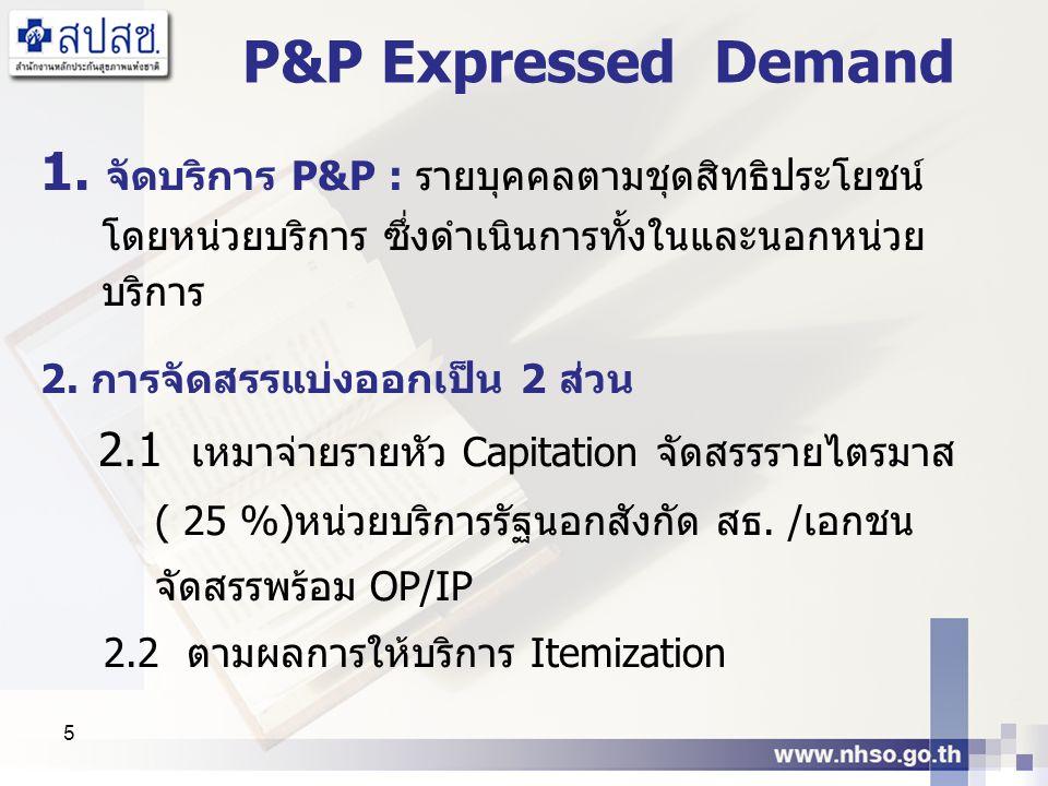 5 P&P Expressed Demand 1. จัดบริการ P&P : รายบุคคลตามชุดสิทธิประโยชน์ โดยหน่วยบริการ ซึ่งดำเนินการทั้งในและนอกหน่วย บริการ 2. การจัดสรรแบ่งออกเป็น 2 ส