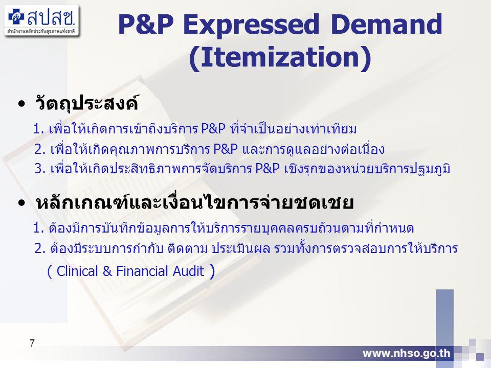 7 P&P Expressed Demand (Itemization) วัตถุประสงค์ 1. เพื่อให้เกิดการเข้าถึงบริการ P&P ที่จำเป็นอย่างเท่าเทียม 2. เพื่อให้เกิดคุณภาพการบริการ P&P และกา