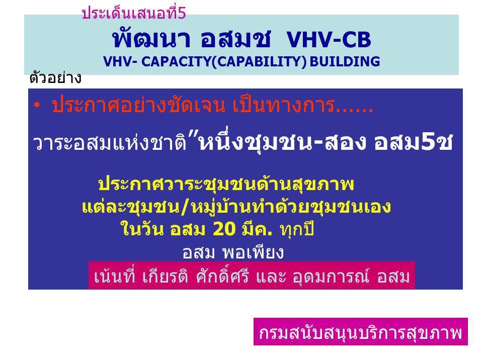 """พัฒนา อสมช VHV-CB VHV- CAPACITY(CAPABILITY) BUILDING ประกาศอย่างชัดเจน เป็นทางการ...... วาระอสมแห่งชาติ """" หนึ่งชุมชน-สอง อสม5ช ประกาศวาระชุมชนด้านสุขภ"""