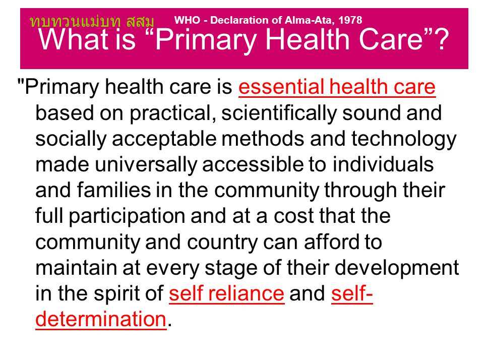 "What is ""Primary Health Care""?"