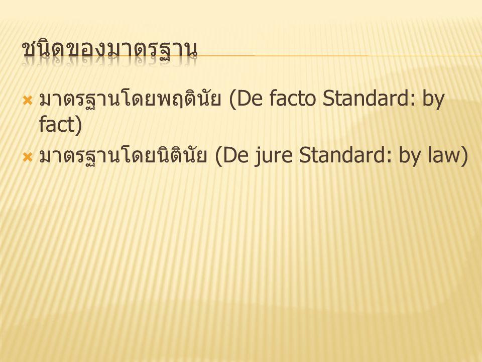  มาตรฐานโดยพฤตินัย (De facto Standard: by fact)  มาตรฐานโดยนิตินัย (De jure Standard: by law)