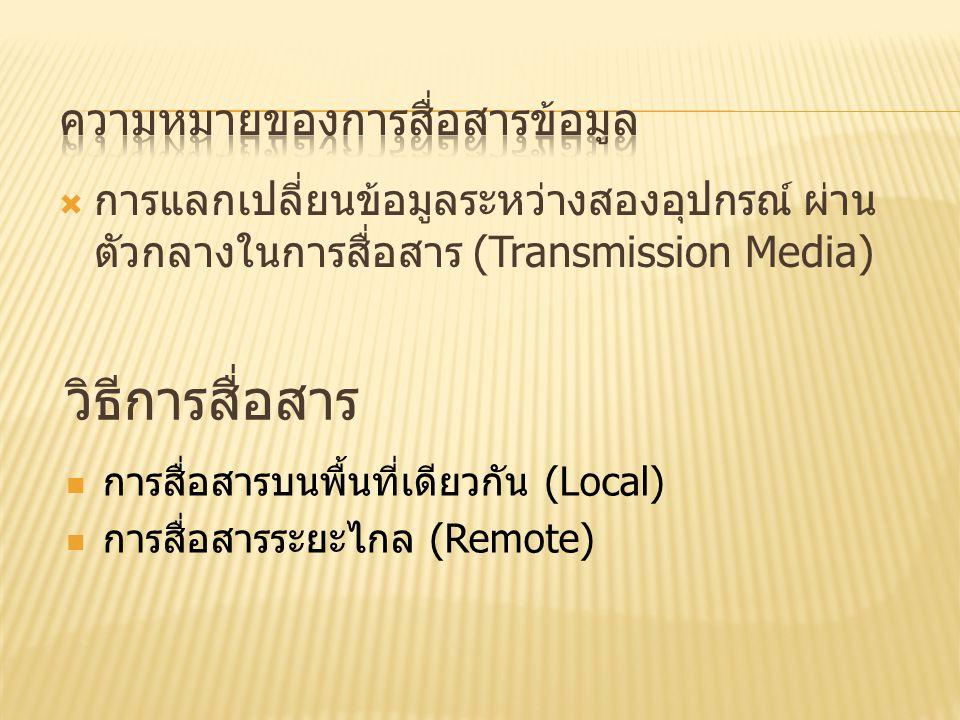  การแลกเปลี่ยนข้อมูลระหว่างสองอุปกรณ์ ผ่าน ตัวกลางในการสื่อสาร (Transmission Media) วิธีการสื่อสาร การสื่อสารบนพื้นที่เดียวกัน (Local) การสื่อสารระยะไกล (Remote)