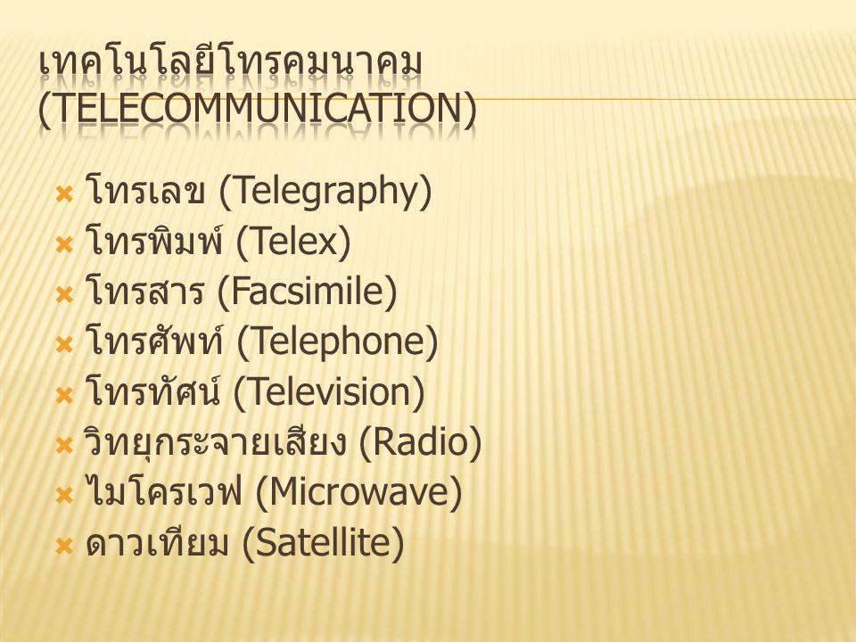  โทรเลข (Telegraphy)  โทรพิมพ์ (Telex)  โทรสาร (Facsimile)  โทรศัพท์ (Telephone)  โทรทัศน์ (Television)  วิทยุกระจายเสียง (Radio)  ไมโครเวฟ (Microwave)  ดาวเทียม (Satellite)