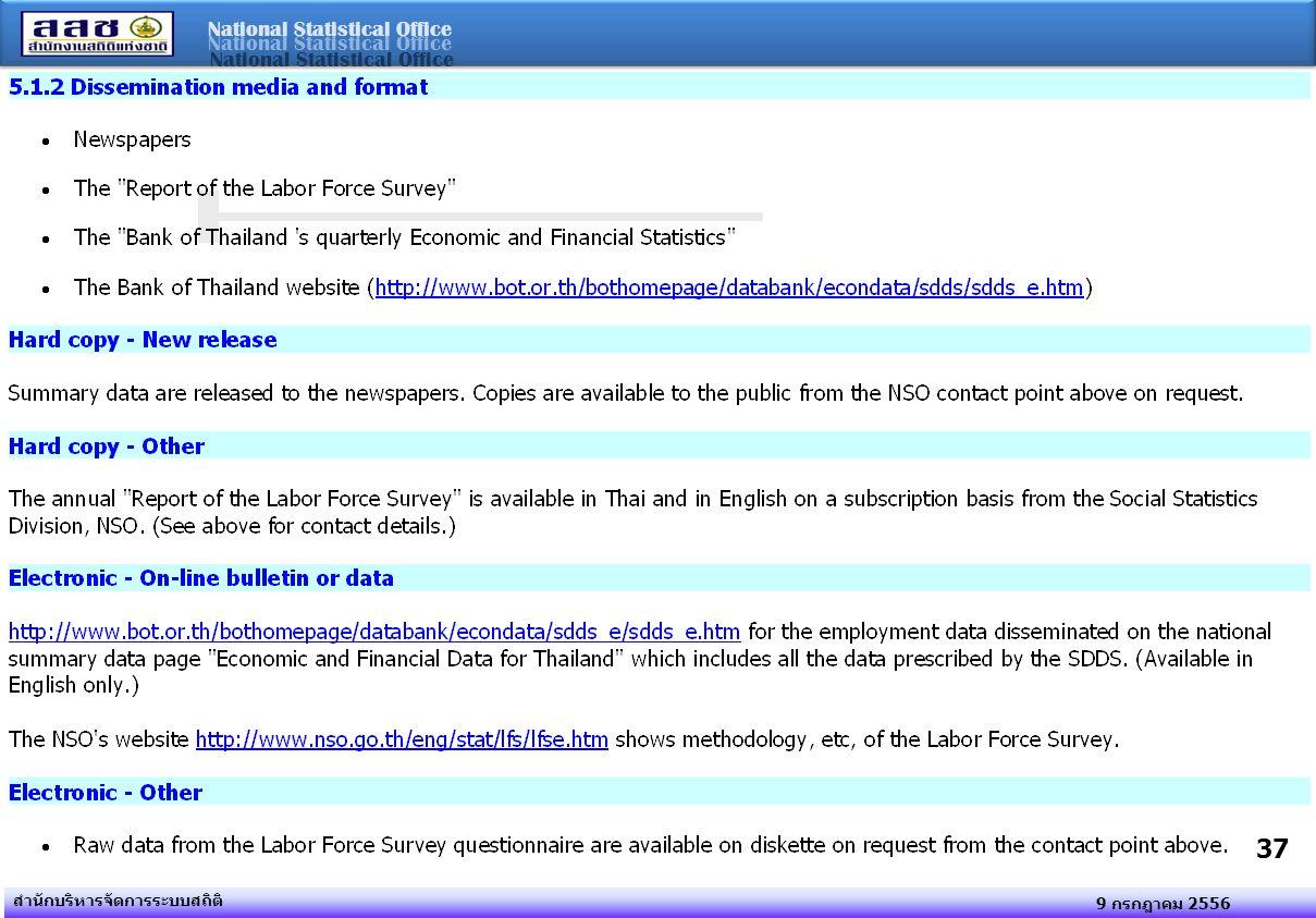 National Statistical Office 9 กรกฎาคม 2556 สำนักบริหารจัดการระบบสถิติ 37