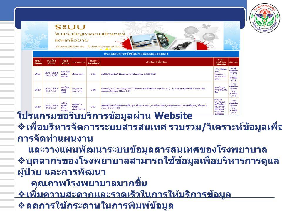 โปรแกรมขอรับบริการข้อมูลผ่าน Website  เพื่อบริหารจัดการระบบสารสนเทศ รวบรวม / วิเคราะห์ข้อมูลเพื่อ การจัดทำแผนงาน และวางแผนพัฒนาระบบข้อมูลสารสนเทศของโรงพยาบาล  บุคลากรของโรงพยาบาลสามารถใช้ข้อมูลเพื่อบริหารการดูแล ผู้ป่วย และการพัฒนา คุณภาพโรงพยาบาลมากขึ้น  เพิ่มความสะดวกและรวดเร็วในการให้บริการข้อมูล  ลดการใช้กระดาษในการพิมพ์ข้อมูล