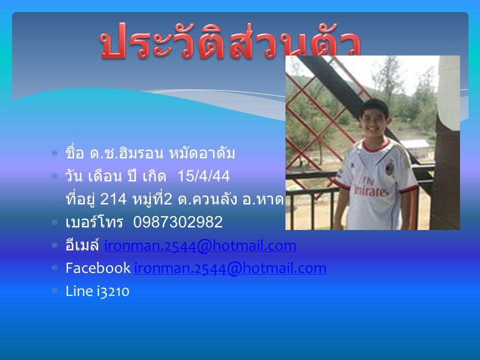 ชื่อ ด. ช. ฮิมรอน หมัดอาดัม  วัน เดือน ปี เกิด 15/4/44  ที่อยู่ 214 หมู่ที่ 2 ต.