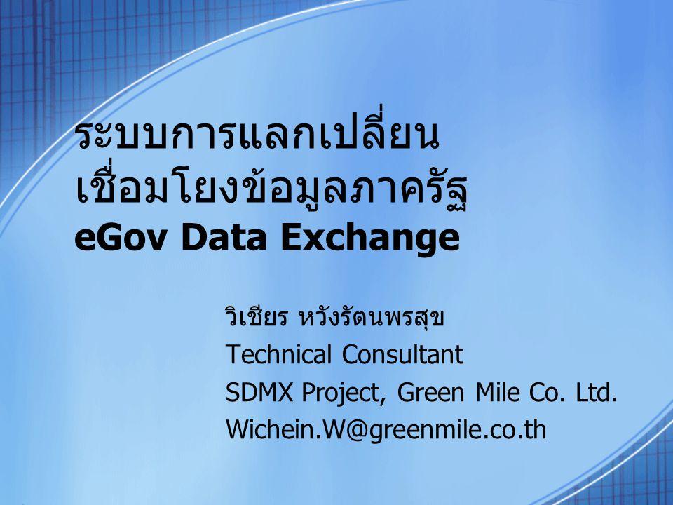 ระบบการแลกเปลี่ยน เชื่อมโยงข้อมูลภาครัฐ eGov Data Exchange วิเชียร หวังรัตนพรสุข Technical Consultant SDMX Project, Green Mile Co. Ltd. Wichein.W@gree