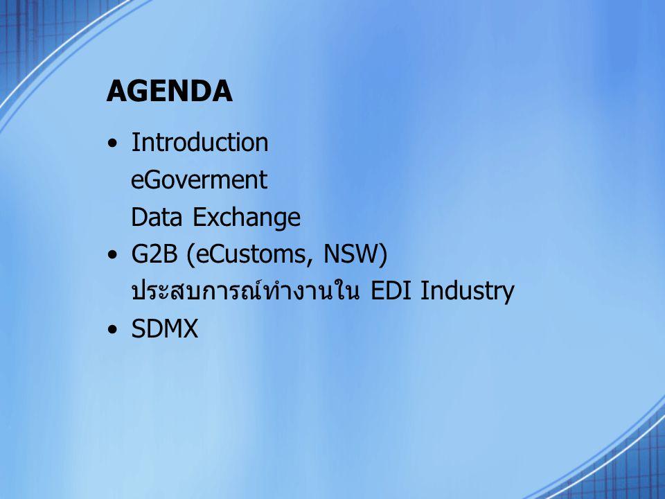 AGENDA Introduction eGoverment Data Exchange G2B (eCustoms, NSW) ประสบการณ์ทำงานใน EDI Industry SDMX
