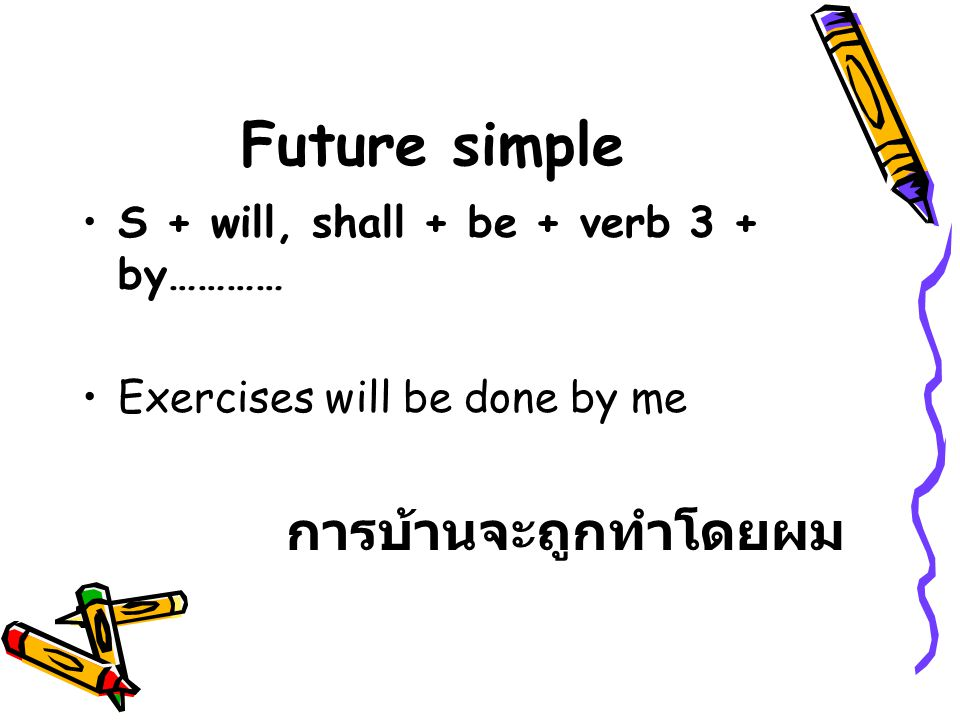 Future simple S + will, shall + be + verb 3 + by………… Exercises will be done by me การบ้านจะถูกทำโดยผม