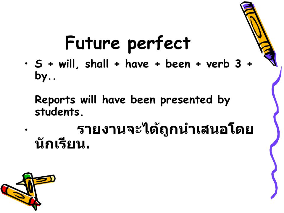 Future perfect S + will, shall + have + been + verb 3 + by..