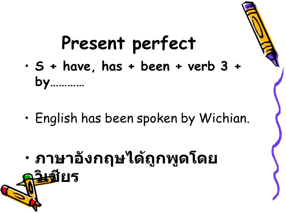 Present perfect S + have, has + been + verb 3 + by………… English has been spoken by Wichian.