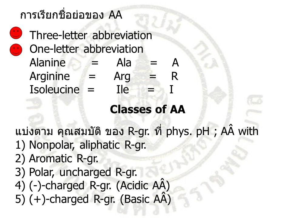 Three-letter abbreviation One-letter abbreviation Alanine = Ala = A Arginine = Arg = R Isoleucine = Ile = I การเรียกชื่อย่อของ AA แบ่งตาม คุณสมบัติ ขอ