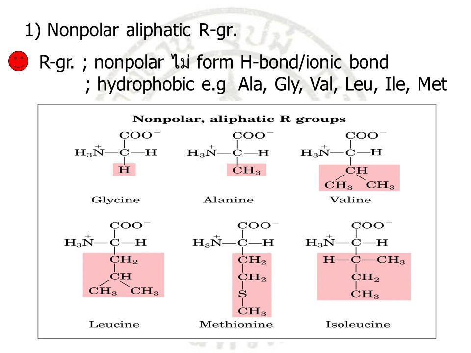 R-gr. ; nonpolar ไม่ form H-bond/ionic bond ; hydrophobic e.g Ala, Gly, Val, Leu, Ile, Met 1) Nonpolar aliphatic R-gr.