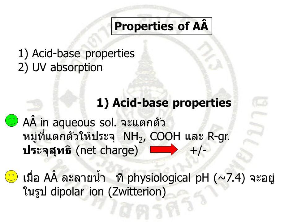 1) Acid-base properties 2) UV absorption Properties of AÂ 1) Acid-base properties AÂ in aqueous sol. จะแตกตัว หมู่ที่แตกตัวให้ประจุ NH 2, COOH และ R-g
