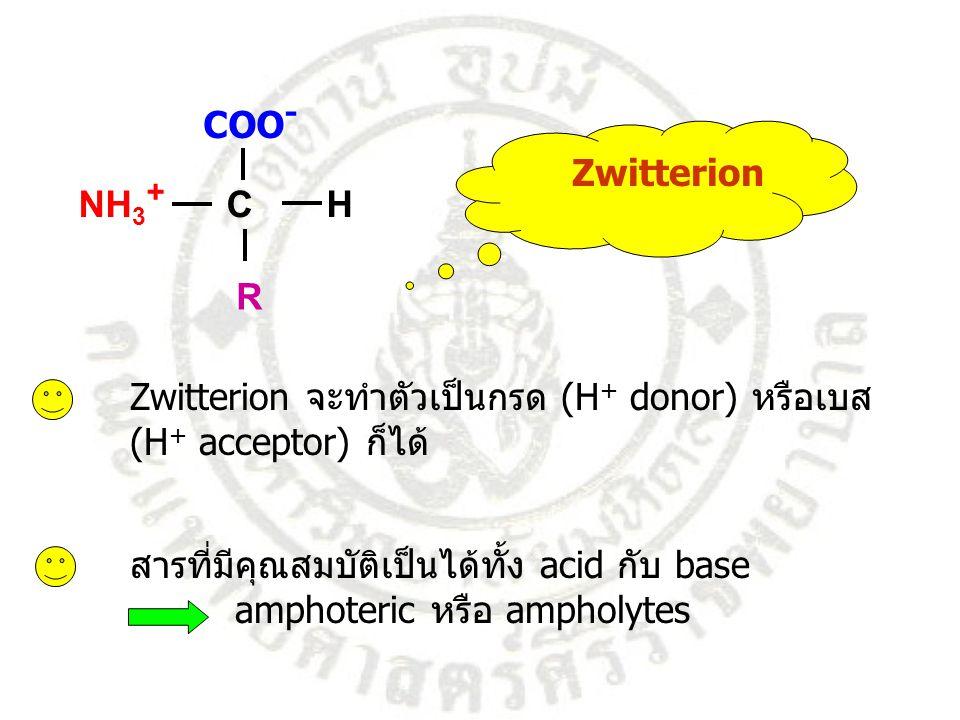 Zwitterion COO - NH 3 + C H R Zwitterion จะทำตัวเป็นกรด (H + donor) หรือเบส (H + acceptor) ก็ได้ สารที่มีคุณสมบัติเป็นได้ทั้ง acid กับ base amphoteric