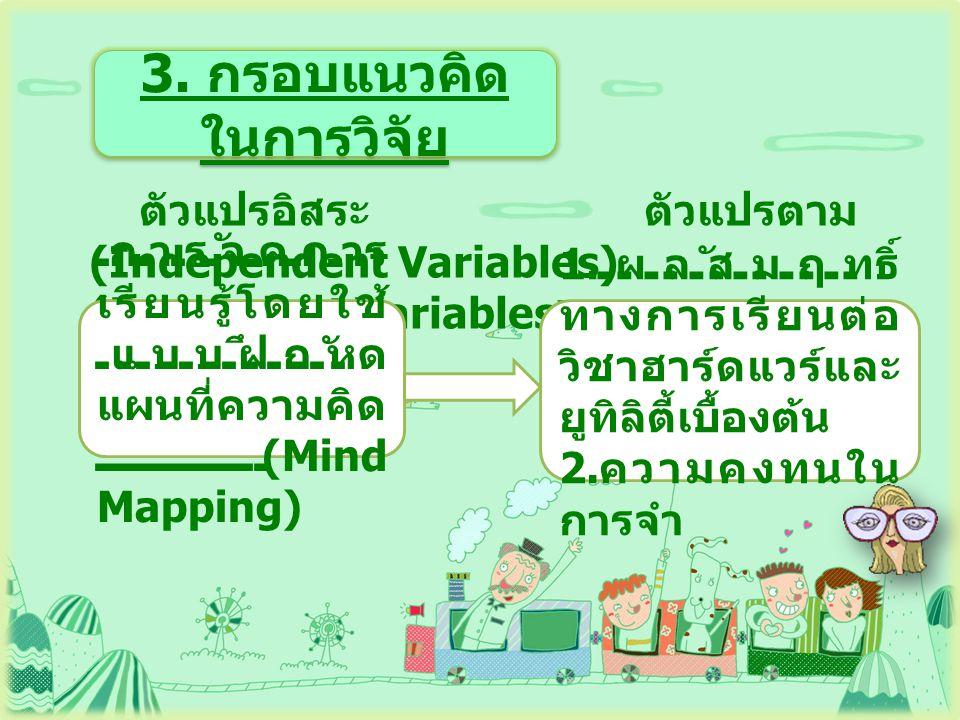 3. กรอบแนวคิด ในการวิจัย ตัวแปรอิสระ ตัวแปรตาม (Independent Variables) (Dependent Variables ) การจัดการ เรียนรู้โดยใช้ แบบฝึกหัด แผนที่ความคิด (Mind M