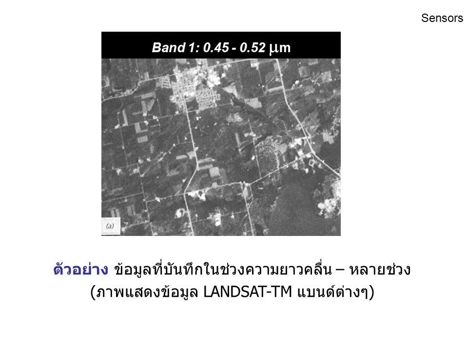 Sensors ตัวอย่าง ข้อมูลที่บันทึกในช่วงความยาวคลื่นเดียว (ภาพถ่ายทางอากาศ ขาว-ดำ 0.4 – 0.7  m.)