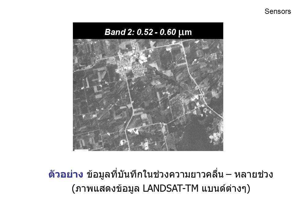 ตัวอย่าง ข้อมูลที่บันทึกในช่วงความยาวคลื่น – หลายช่วง (ภาพแสดงข้อมูล LANDSAT-TM แบนด์ต่างๆ) Band 1: 0.45 - 0.52  m Sensors