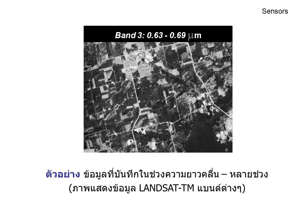 ตัวอย่าง ข้อมูลที่บันทึกในช่วงความยาวคลื่น – หลายช่วง (ภาพแสดงข้อมูล LANDSAT-TM แบนด์ต่างๆ) Band 2: 0.52 - 0.60  m Sensors