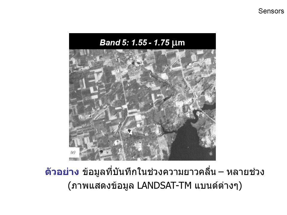Band 4: 0.76 - 0.90  m ตัวอย่าง ข้อมูลที่บันทึกในช่วงความยาวคลื่น – หลายช่วง (ภาพแสดงข้อมูล LANDSAT-TM แบนด์ต่างๆ) Sensors
