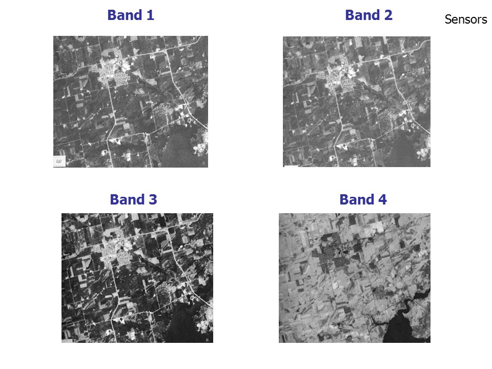 Band 7: 2.08 - 2.35  m ตัวอย่าง ข้อมูลที่บันทึกในช่วงความยาวคลื่น – หลายช่วง (ภาพแสดงข้อมูล LANDSAT-TM แบนด์ต่างๆ) Sensors