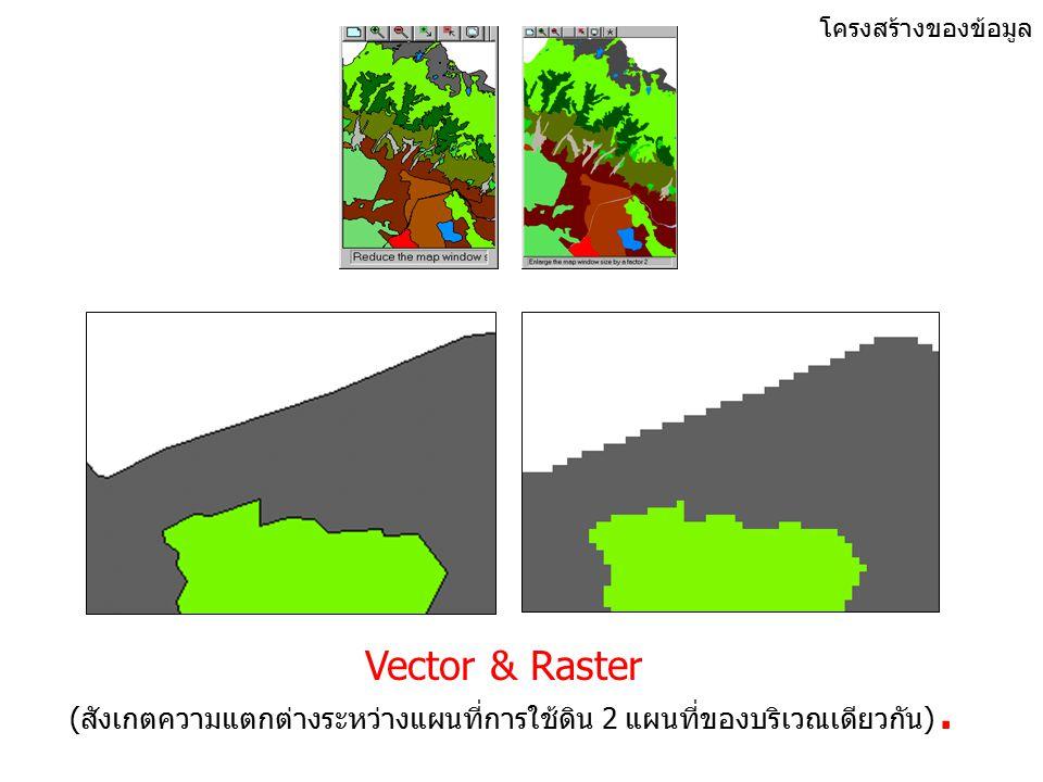 โครงสร้างของข้อมูล Vector & Raster Data C B B A C A B Points Lines Polygons.