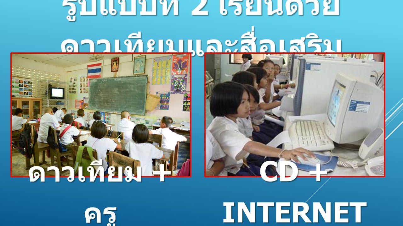 รูปแบบที่ 2 เรียนด้วย ดาวเทียมและสื่อเสริม ดาวเทียม + ครู CD + INTERNET